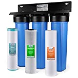 iSpring WGB32BM 3-Stage Whole House Water Filtration System w/ 20-Inch Sediment, Carbon Block, and...