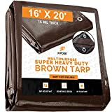 16' x 20' Super Heavy Duty 16 Mil Brown Poly Tarp Cover - Thick Waterproof, UV Resistant, Rot, Rip...