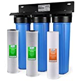 iSpring WGB32B 3-Stage Whole House Water Filtration System w/ 20-Inch Big Blue Sediment and Carbon...
