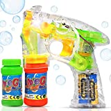 Haktoys Transparent Bubble Shooter Gun | Ready to Play Light Up Blower with LED Flashing Lights,...