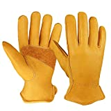OZERO 3 Pairs Flex Grip Leather Working Gloves Stretchable Wrist Tough Cowhide Work Glove (Gold,...