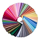 50 Pieces Multi-Colors Fabric Patchwork Cotton Mixed Squares Bundle Sewing Quilting Craft, 50 Colors...