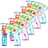 Prextex Pack of 5 Wind up Bubble Gun Shooter LED Light up Bubble Blower Indoor and Outdoor Toys for...